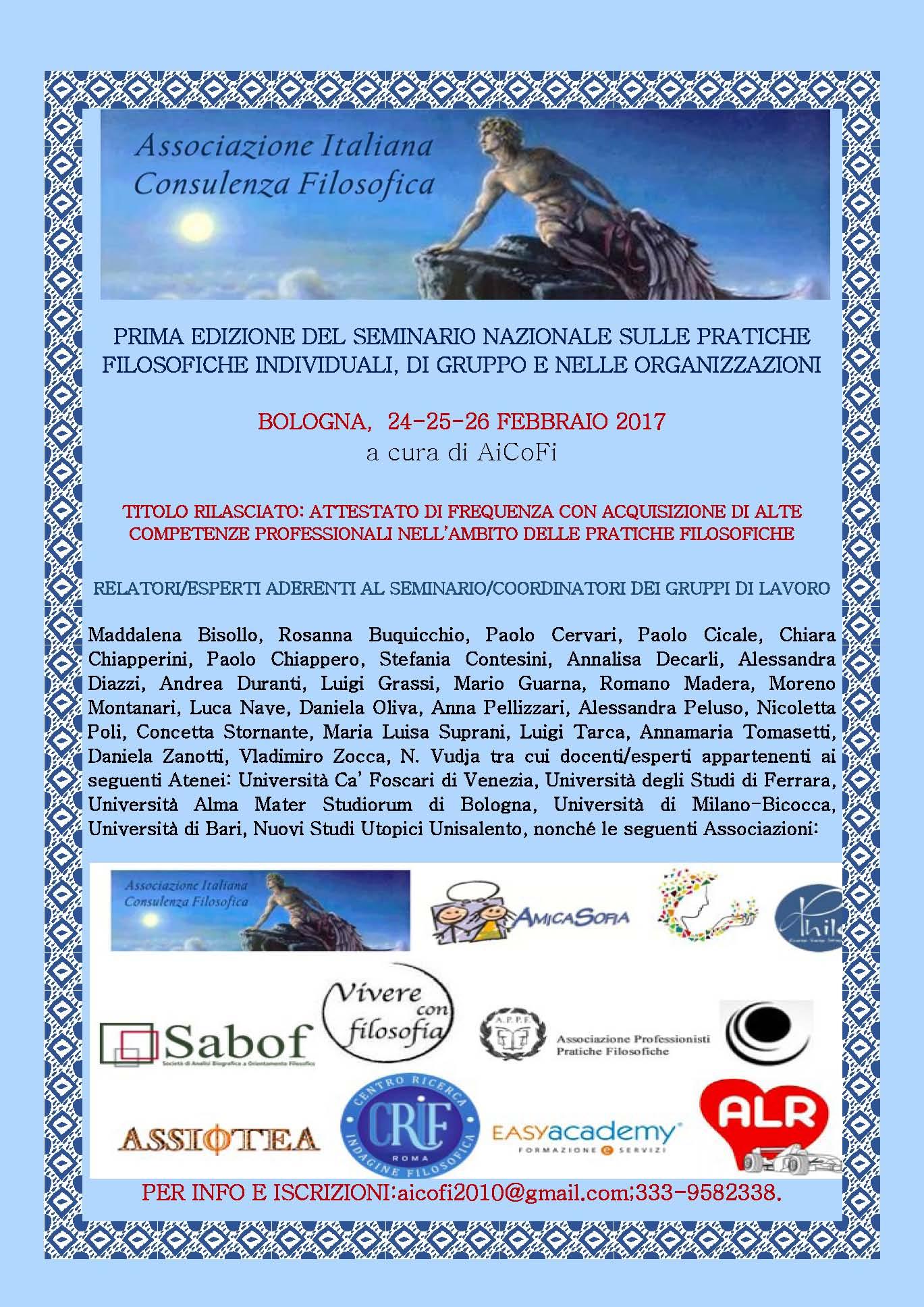 Seminario Pratiche Filosofiche a Bologna del 24,25,26 febbraio